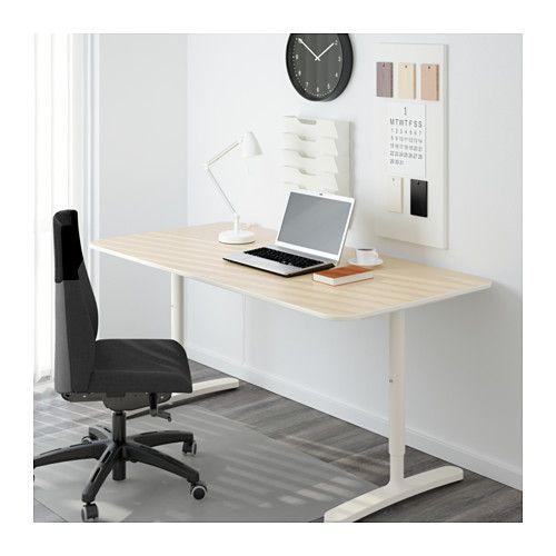 BEKANT Scrivania - impiallacciatura di betulla/bianco - IKEA