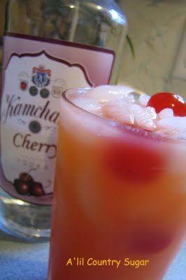 Popped Cherry (1 c. ice 1 oz. maraschino cherry juice 2 oz. cherry vodka 4 oz. orange juice 3 maraschino cherries)