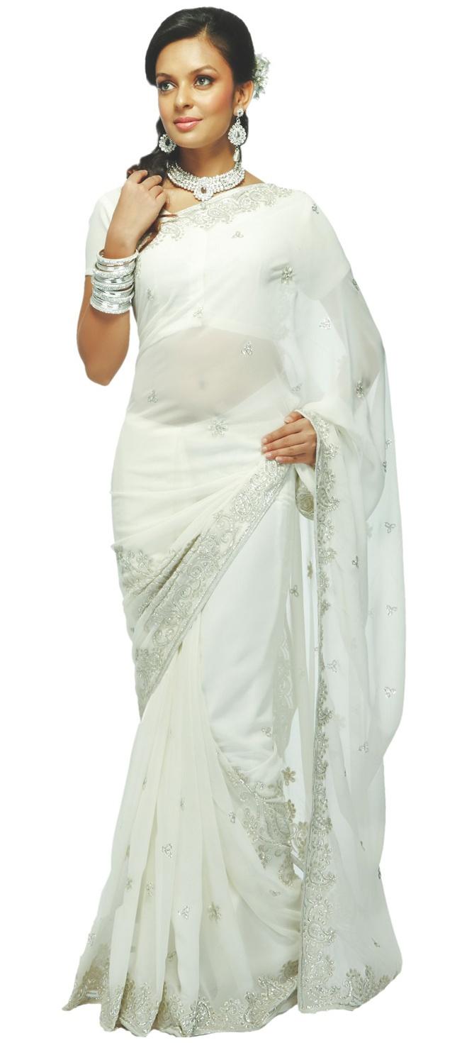 Pretty white sari