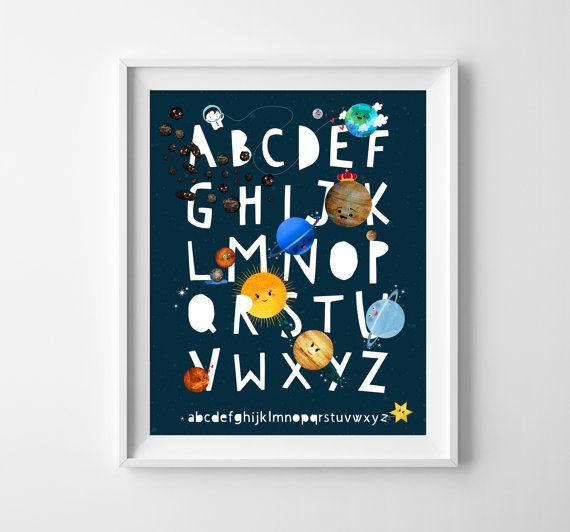 ABC Poster. Solar System Theme. Such a lovely way for a child to learn the alphabet. Perfect for a nursery, children's bedroom or a playroom. Size: