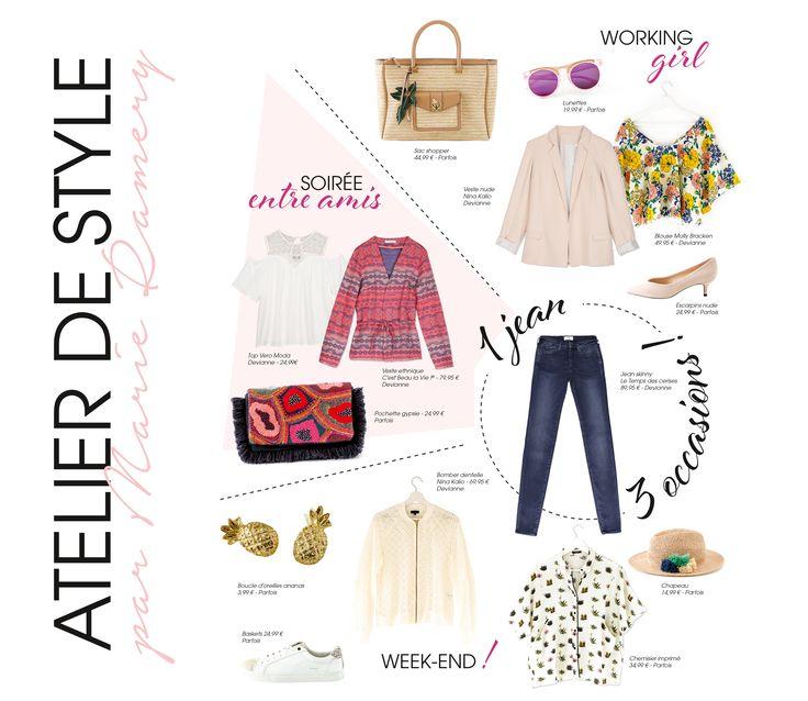 1 jean, 3 occasions. Atelier de Style par Mare Ramery.  Produits Devianne & Parfois (Centre Commercial Auchan Englos). Photos Devianne et Nicolas Vaicle.