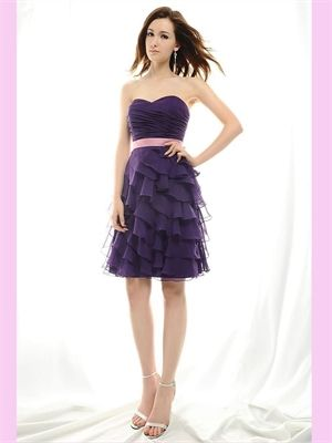 Purple Short Sweetheart Chiffon Bridesmaid Dress...would be cute if the sash could be the same or lighter purple instead