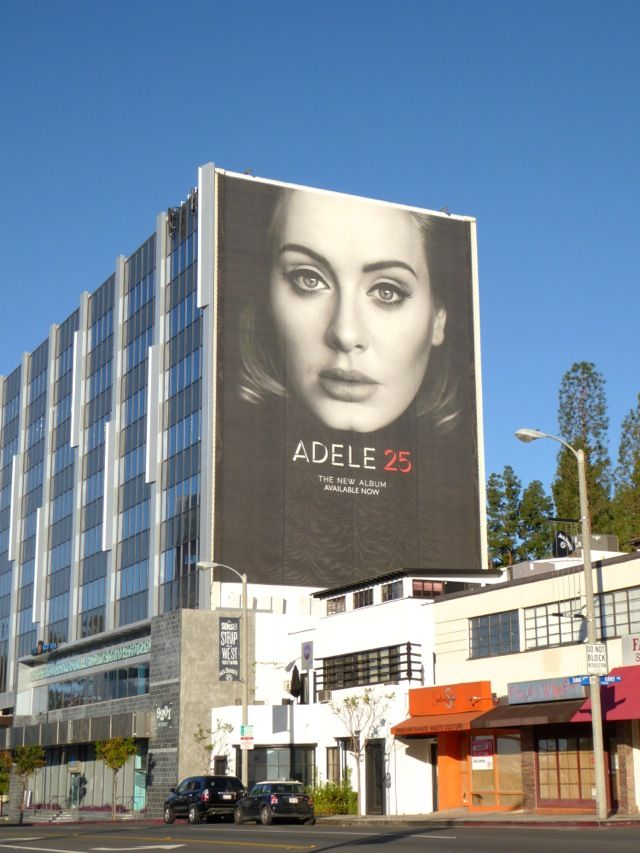 Giant Adele 25 album billboard Sunset Boulevard
