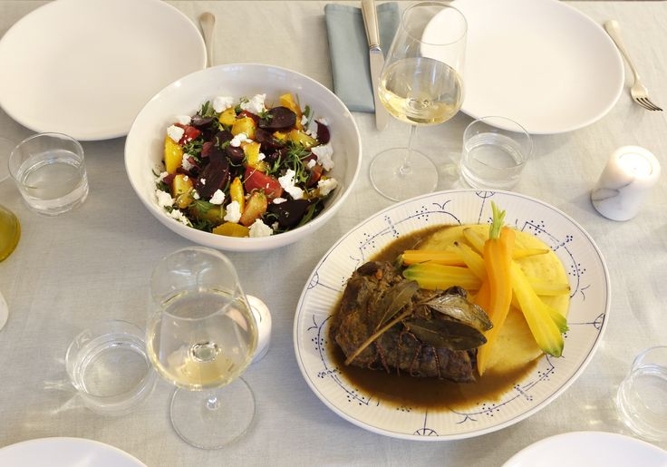 Dinner party: Stracotto (Itallian slow cooked beef) with polenta, multi colored carrots and a beetroot salad