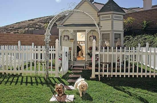 fully appointed (hardwood floors, wallpaper, heat & AC, among other things), $20,000 Victorian mansion for dogs.