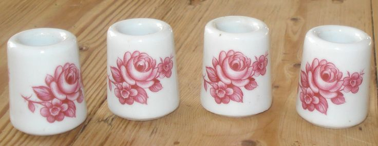 Vintage mini candle holders, set of 4, candle sticks, porcelain, '70s, pink door MyVintageAndMore op Etsy