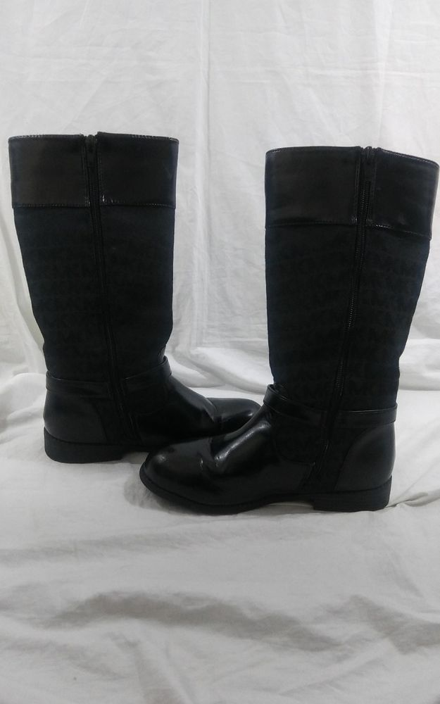 Michael Kors MK Girls Size 2 Tall Black Sailor Logo Zip up  Boots  #MichaelKors #Boots #kidsfashion