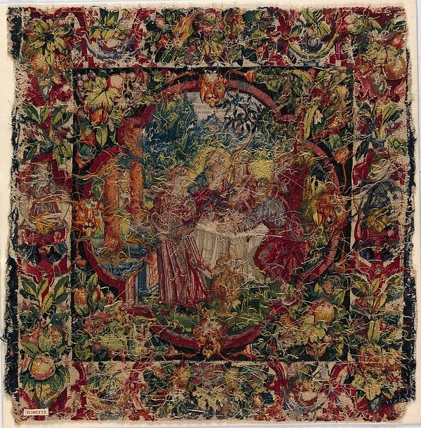 """Reverse side of """"Abraham Entertaining the Angels"""" from Scenes from the Lives of Abraham and Isaac Date: ca. 1600 Culture: Flemish Medium: Wool, silk, silver-gilt thread (21 warps per inch, 9 per cm.) Dimensions: H. 19 3/4 x W. 20 inches (50.2 x 50.8 cm) Classification: Textiles-Tapestries Credit Line: Gift of George Blumenthal, 1941 Accession Number: 41.100.57e"""