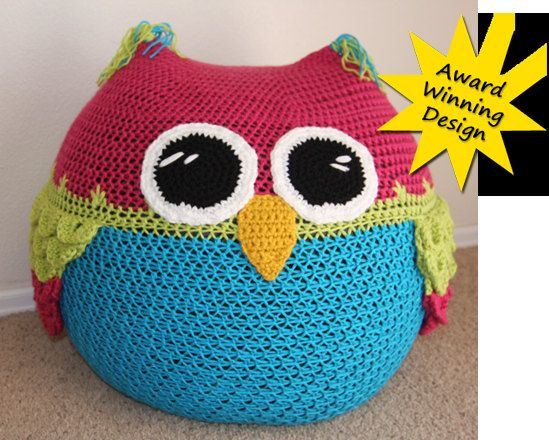 I need somebody to make this for me!!  Owl Bean Bag Chair  CROCHET PATTERN by YarnovationsShop on Etsy, $5.99