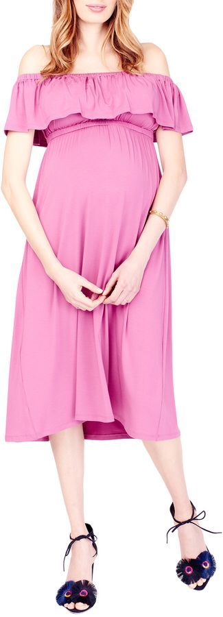 Beautiful pink maternity dress. Perfect party dress for pregnant women. Knit modal blend dress.  Elasticized off the shoulder Short sleeve Ruffled bodice Gathered empire waist #affiliate #maternity #pregnancy #maternityoutfit