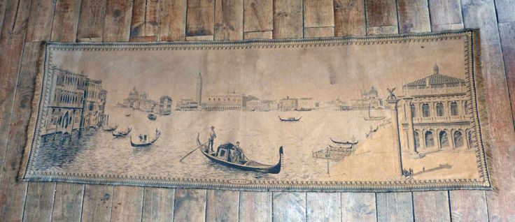 Antique large tapestry wall hanging art decor 1900s tapestry w Venice canal gondola scenery decor scene, home decor wall tapestries by MyFrenchAntiqueShop on Etsy