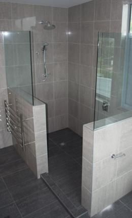 walk in shower- just the walls, no glass