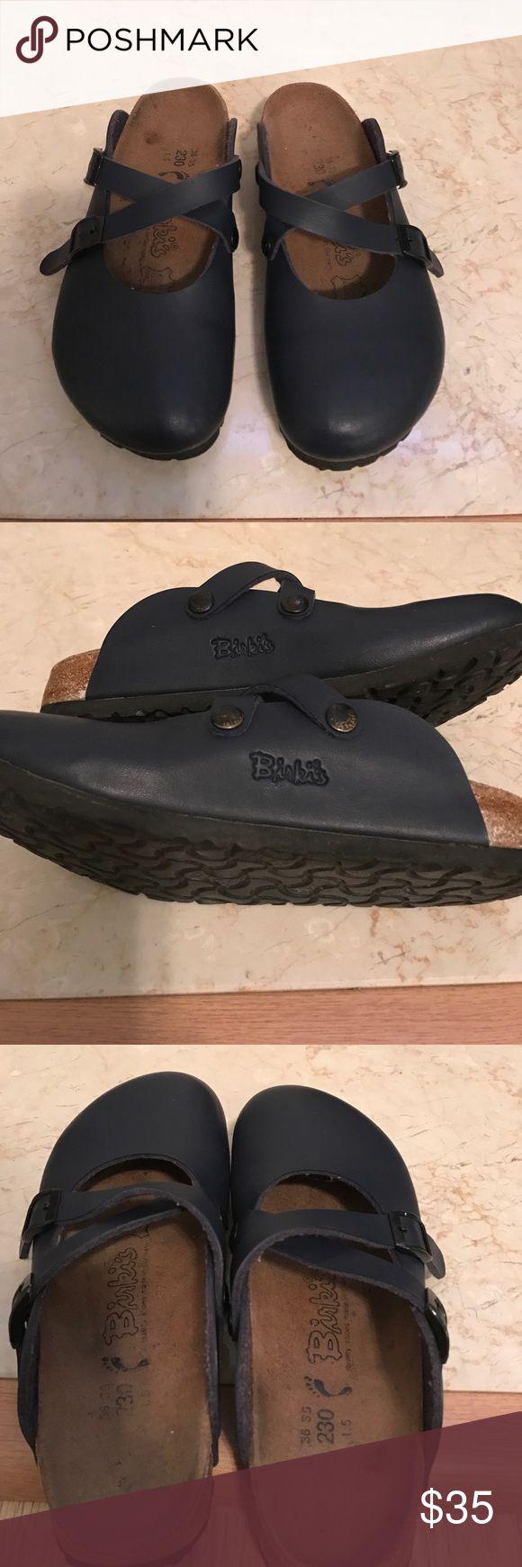 Navy Blue Birkis Birkenstock Mules Clogs size 5 Birki's navy slip on shoes. Two buckles. Open back European size 36 35 US size 5 Birkenstock Shoes Mules & Clogs