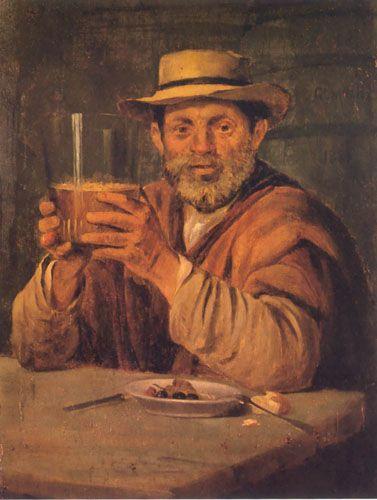 HOMBRE CON VASO DE CHICHA, oleo sobre tela 42 x 32 cm Pinacoteca Universidad de Concepion, Chile