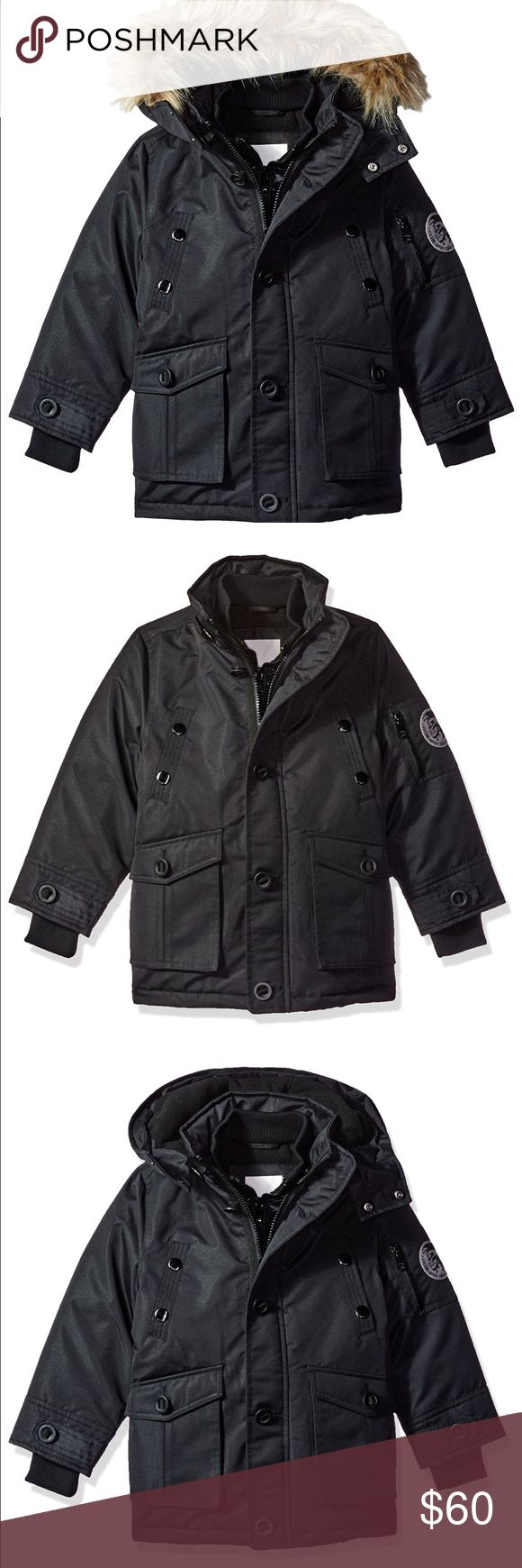 Diesel Boys' Heavy Weight Quilted Vested Jacket Fits my son perfectly who is 3 yrs old 39ibs and 40 inches  Features 100% Polyester Imported Machine Wash Attached hood with removable faux fur trim Wind and rain resistant Fully lined Storm flap placket covers zipper for warmth Mock neck inner warm vestee Diesel Jackets & Coats