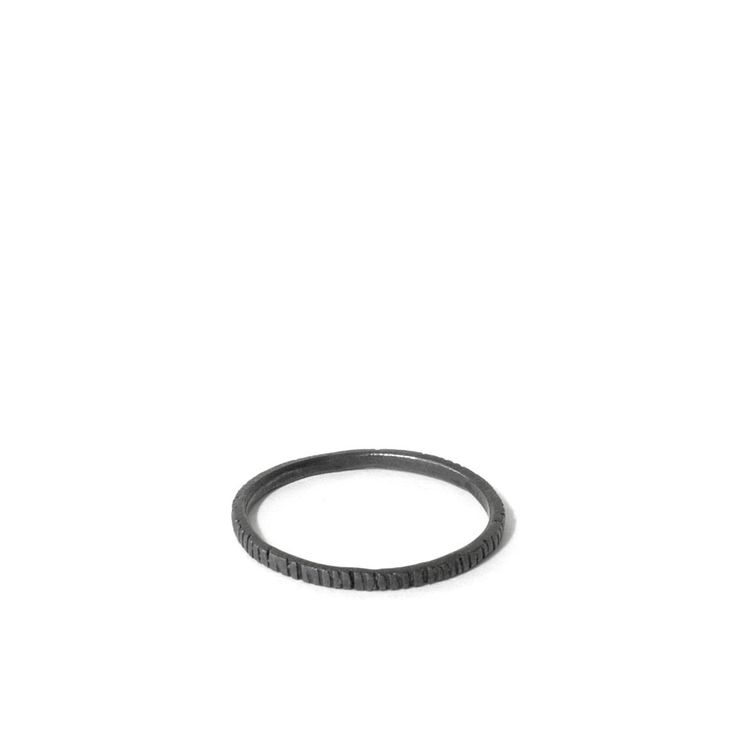 Dashes stackable ring, oxidised silver $45