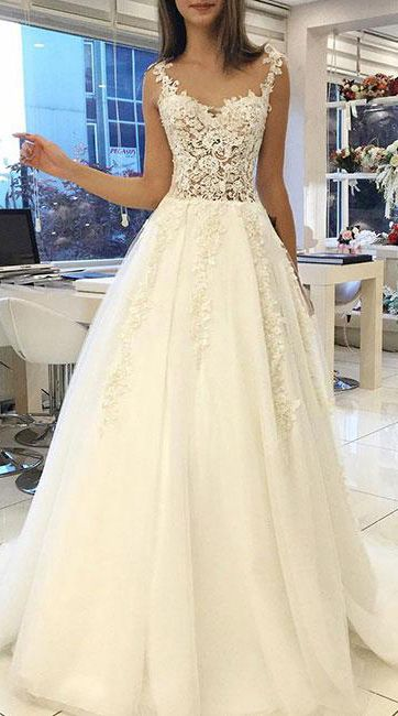 Off White Prom Dresses,Lace Prom Gown,Tulle Wedding Dresses,Long Prom Dress,Simple Wedding Dress #ivory #prom #wedding #lace #long #okdresses