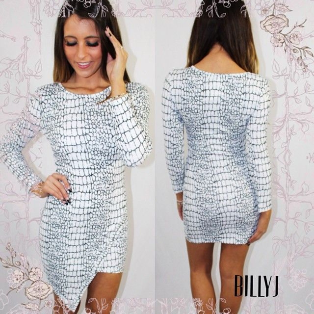 Stunning black & white snake print dress on sale only $40! For a limited time