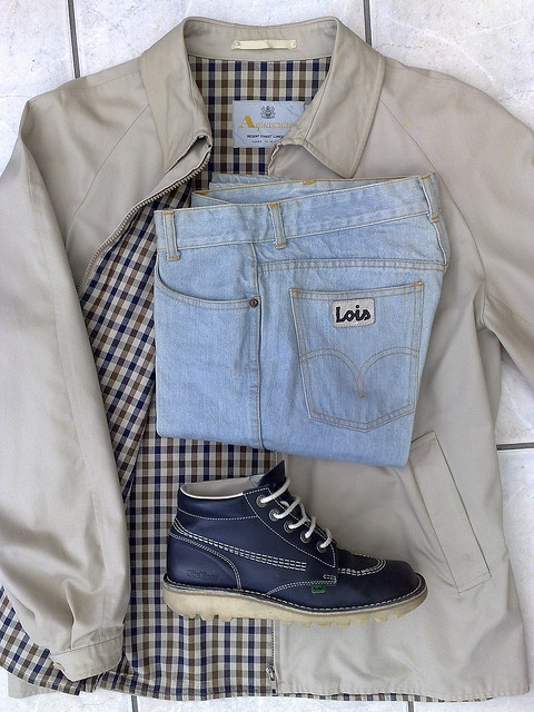 Iconic Casuals, Aquascutum jacket, Lois jeans and a pair of Kickers