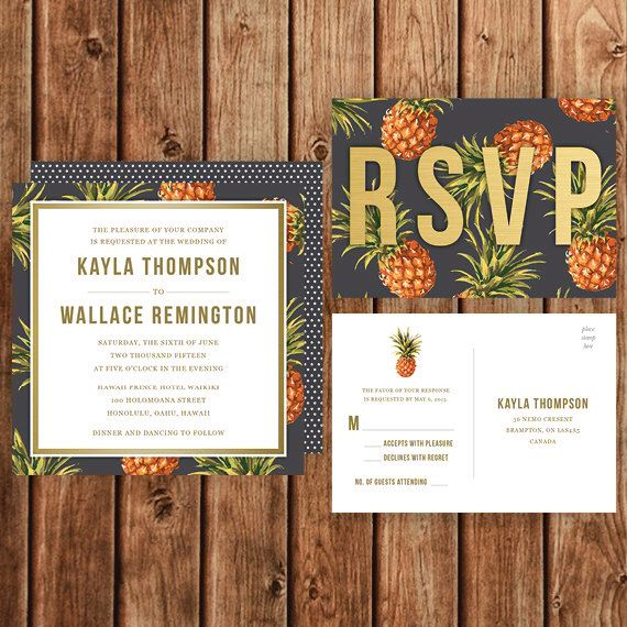 Destination Wedding Invitation, Black, Yellow, Pineapple, Polka Dot, Vintage, Tropical Party Invitation, Beach, Island, Hawaii by BettyLuDesigns on Etsy https://www.etsy.com/listing/222456908/destination-wedding-invitation-black
