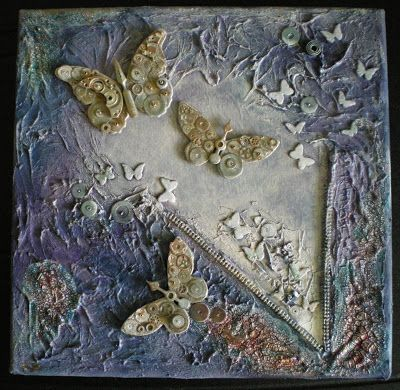Mixed media canvas - steampunk - with texture paste and Kroma Crackle