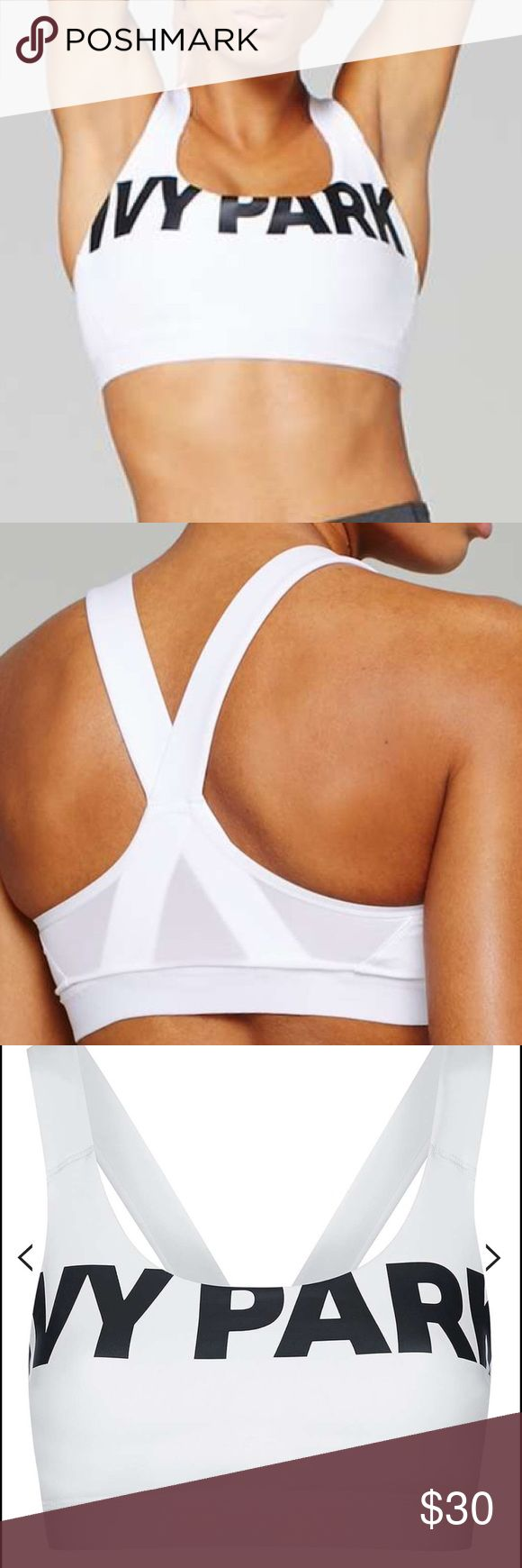 V-Back Mesh Insert Bra By Ivy Park -- WORN ONCE! Fully breathable, the bra top comes designed with both performance and understated style in mind. A sheer mesh panel to the back provides ventilation whilst active, while a power mesh lining and flat-locked contour seam provide a supportive and streamlined shape. Crafted for performance, the technical make ensures a quick drying and durable finish that wicks sweat away. Finished with a statement Ivy Park logo to the chest it can be worn alone…