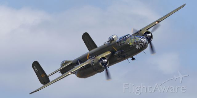 FHCAM's North American B-25J over Paine Field, Everett, Wa.