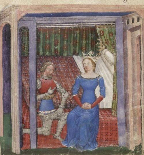 Bibliothèque nationale de France, Français 343, f.8r (Lancelot and Guinevere). La Quête du Saint Graal et la Mort d'Arthus.  14th century.