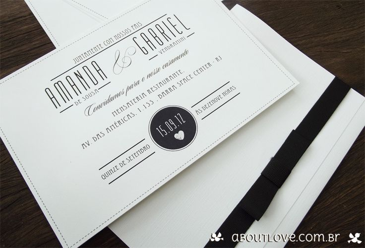 Convite de casamento classico com visual elegante e clean. - AboutLove