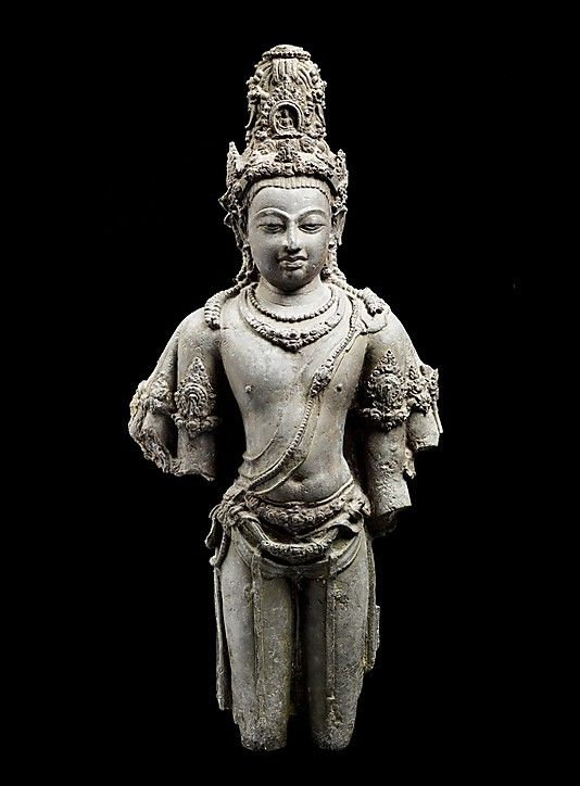 Eight-armed Avalokiteshvara was a favored type during the eighth century in the peninsula, Sumatra, and central Java. This exemplary casting of the Bodhisattva of Compassion was probably a royal commission