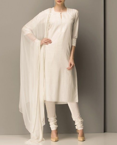 Ivory Sequined Kurta Set - AM:PM, from AM:PM via Exclusively.in