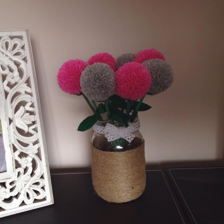 twine wrapped jar with pink and grey pompom flowers https://www.facebook.com/AndiesAccessories/photos/a.1088836111143103.1073741890.251860708173985/1100888696604511/?type=3&theater