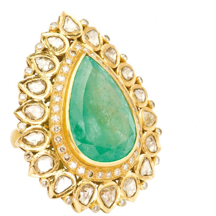 Large teadrop ring in 22-karat gold with emerald and rosecut diamonds by Nancey Chapman