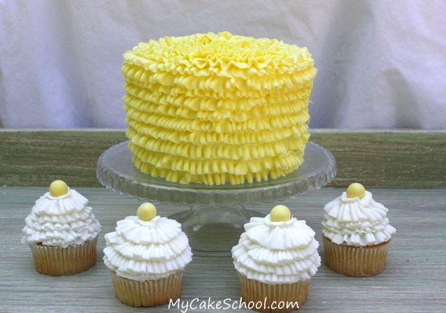 Ruffled buttercream (using #70 & #50 tips) ~a tutorial: Cakes Tutorials, Buttercream Ruffles, Decor Cakes, Frostings Tips, Ruffles Cakes, Cakes Decor, Cakes Tips, Yellow Cakes, Cupcake Tips