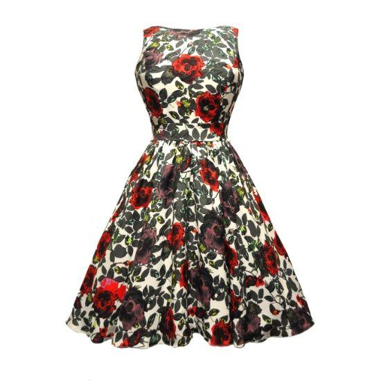 šaty Lady V London Elegant Rose Tea Retro šaty ve stylu 50. let. Dokonalé šaty vhodné pro společenské události - do tanečních kurzů, na svatbu, i jako malé večerní. Decentní a přitom výrazný vzor růží v barvách babího léta. Příjemný materiál (65% polyester, 35% bavlna), spodnička v bavlněném provedení - šaty nejsou pružné, doporučujeme tedy dobře měřit a v případě váhání mezi dvěma velikostmi se přiklonit k té větší.