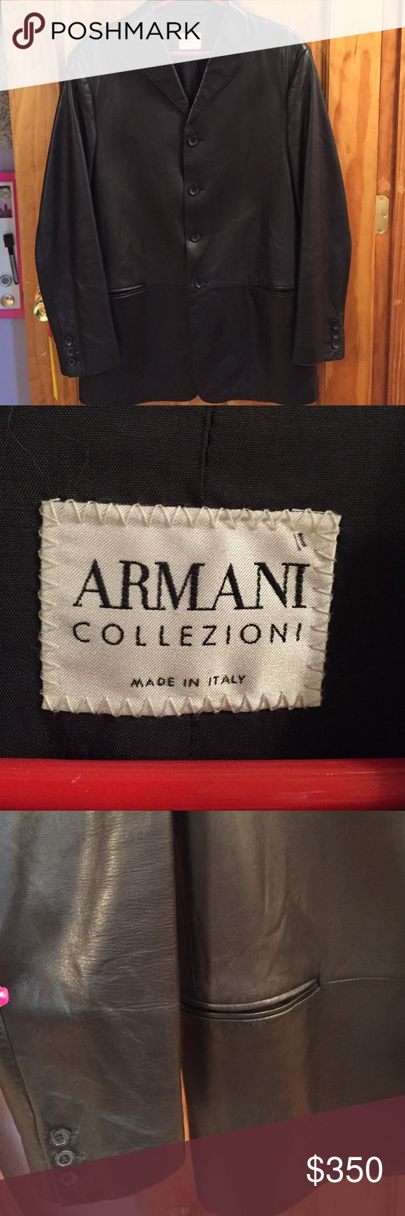 Men's Armani Black Button Leather Jacket Beautiful men's Armani leather jacket wit 4 buttons down the front and 3 buttons on each cuff. Armani Collezioni size 42 - made in Italy - RETAILS FOR $1600 !!!! Armani Exchange Jackets & Coats