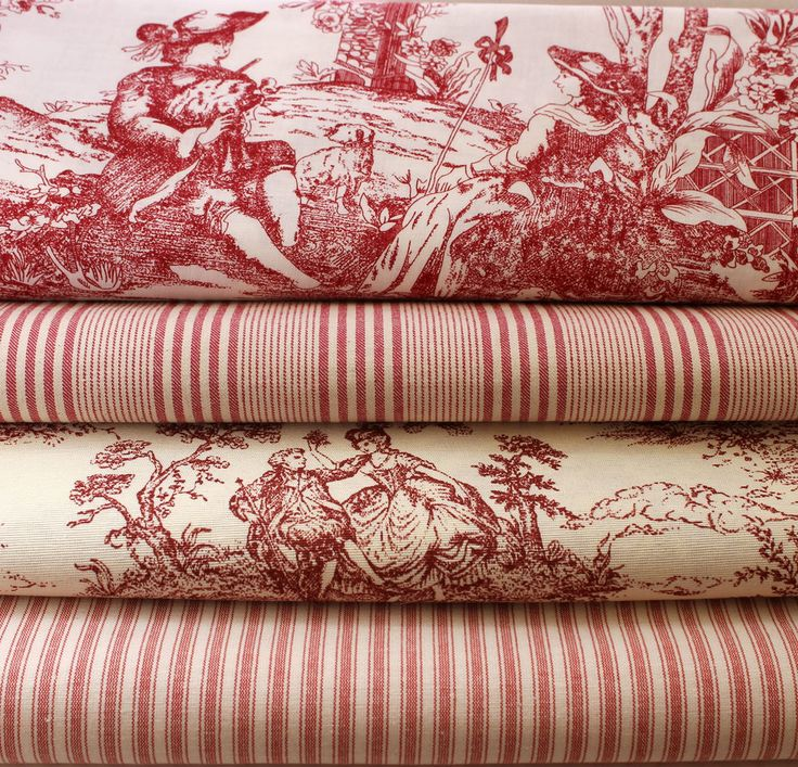 VINTAGE RASPBERRY TOLIE DE JOUY TICKING STRIPE FRENCH FABRIC NEW in Crafts, Fabric | eBay