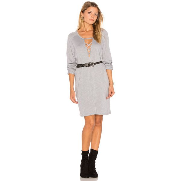 Lanston Lace-Up Sweatshirt Dress ($26) ❤ liked on Polyvore featuring dresses, lace up front dress, laced up dress, white cutout dresses, lace up dress and white cut out dress
