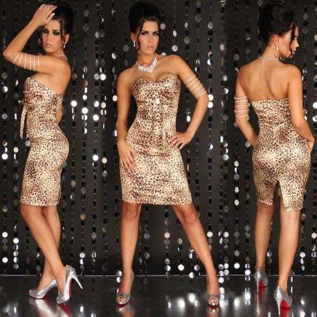 Vestido de leopardo para salir.  Rebajas en Shokomoda.  Antes 44,90 ahora 17,50 euros.  Disponible en tres tallas, y en 4 colores.  https://shokomoda.com/es/vestidos/vestido-de-fiesta-cocktail-140.html