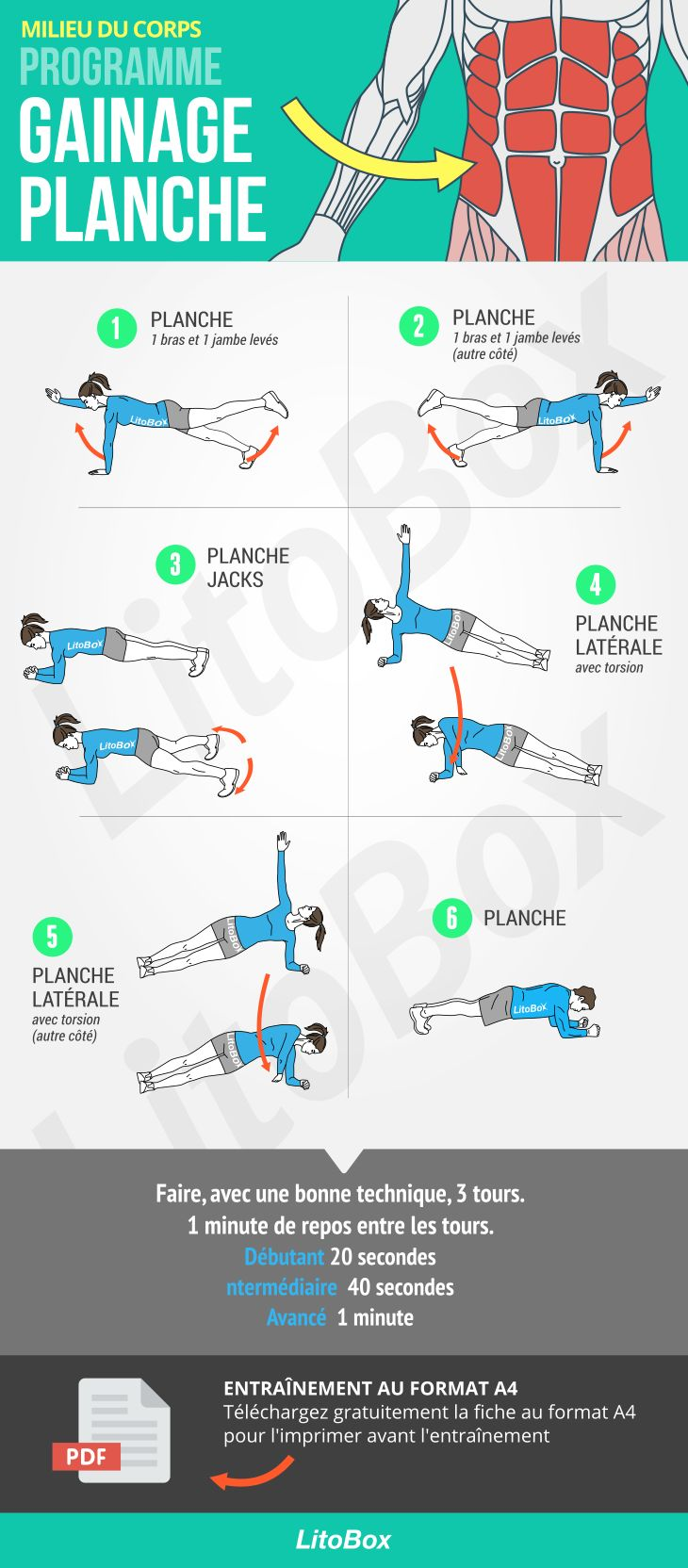 Programme abdominaux : gainage avec variations de planches