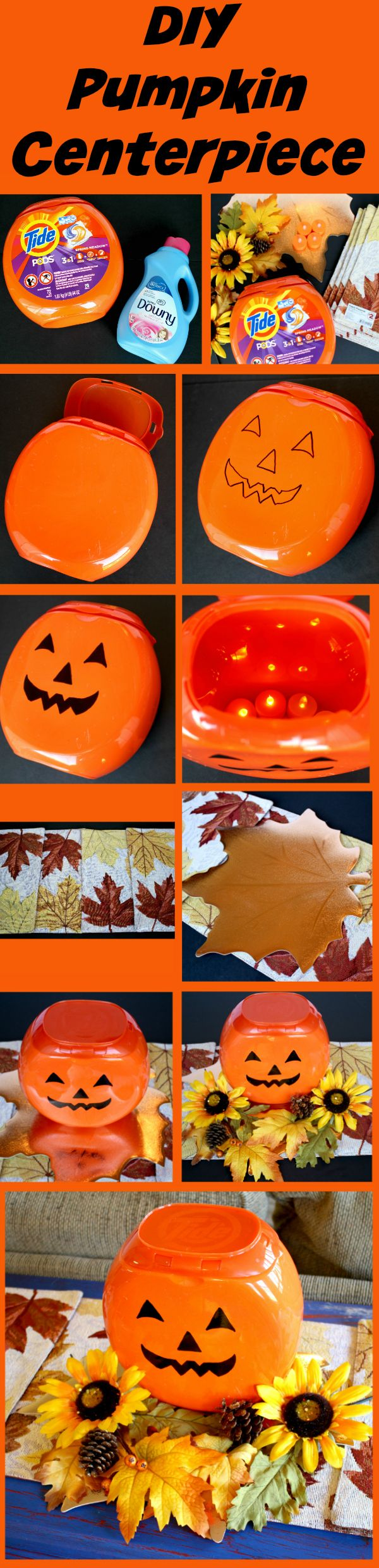 Step-by-step instructions on how to make DIY Pumpkin Centerpiece for Halloween using Tide PODS container. Save money on this centerpiece at @familydollar using Smart Coupons! http://freebies4mom.com/familysavings/ #FamilySavings #ad