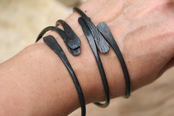 Forged Iron Bracelets, 20% off Holiday Sale, hand forged iron, blacksmithed bracelet, set of three...retail therapy!!