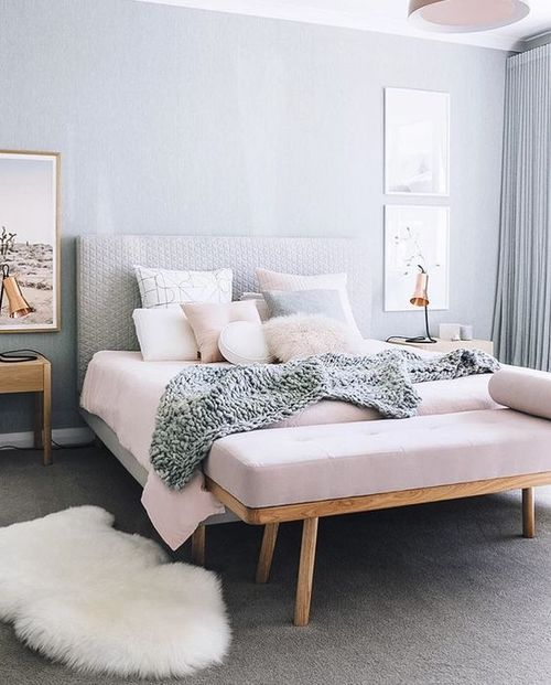 Pastel Pinks And Greys Are Softly Stunning Paired Together Like This Scandinavian Bedroomnordic Bedroombedroom Colourswall