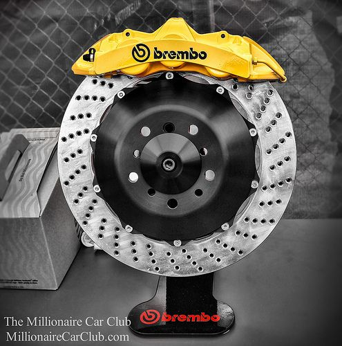 Massive Brembo Brakes Calipers and Discs - Mechanical Work Of Art - Forget the car - these look great alone See more at millionairecarclub.com