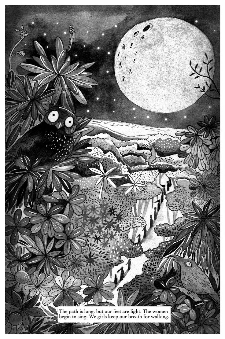 One of Priya Kuriyan's illustrations from the story 'Swallow the Moon' written by Kate Constable.
