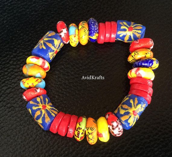 Mixed Transparent Matte Semi Spring Ghana recycled Glass African trade Beads