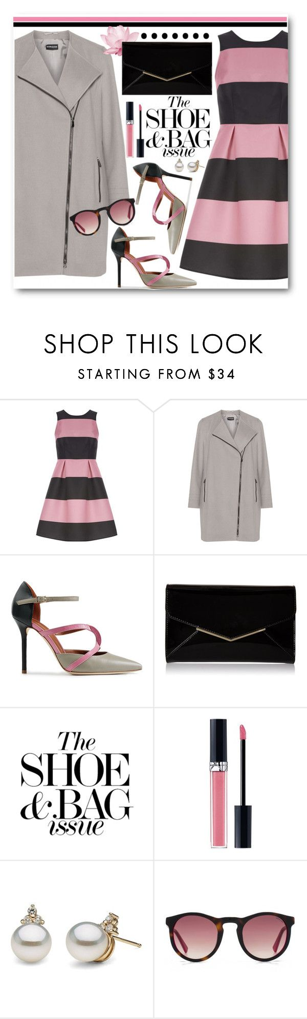 """Dorothy Perkins Pink and Black Dress"" by brendariley-1 ❤ liked on Polyvore featuring Luxe, Samoon, Malone Souliers, Furla, Christian Dior and HOOK LDN"