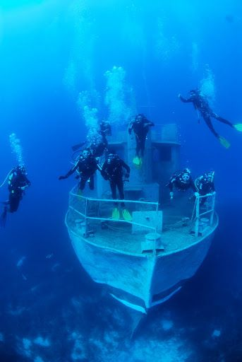 Scuba diving a shipwreck in Bodrum Turkey