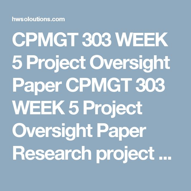 CPMGT 303 WEEK 5 Project Oversight Paper CPMGT 303 WEEK 5 Project Oversight Paper Research project oversight using the UOP Library.  Write a 700- to 1,050-word executive summary to your organization's leadership team covering the following:  What is project oversight? How will project oversight impact the organization? How will project oversight impact the project manager? What's the importance of project oversight to the future of project management? Format your paper consistent with APA…