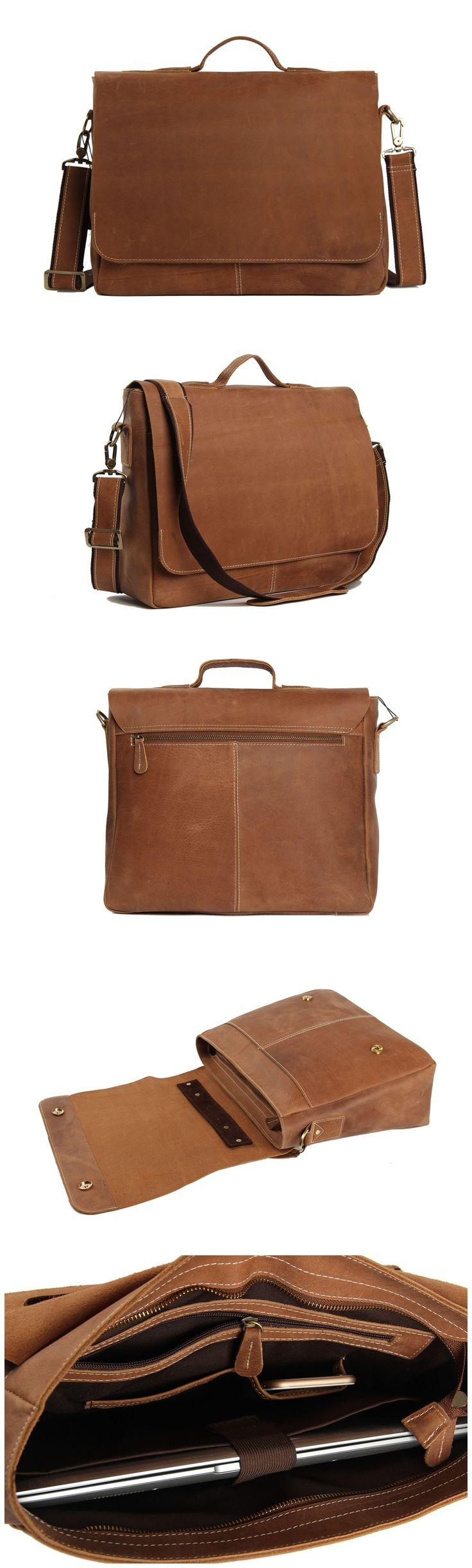 Leather Briefcase Messenger Bag Laptop Bag Men's Bag